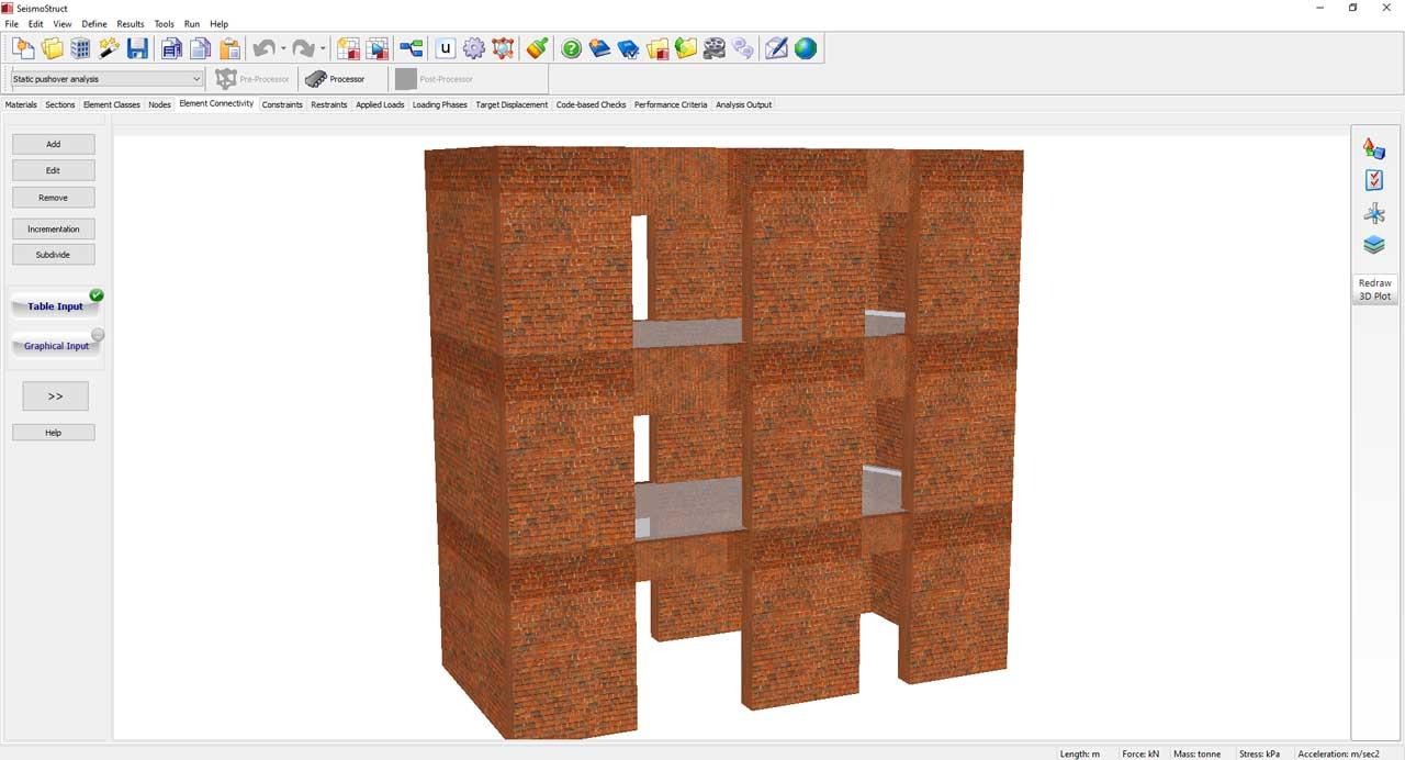SeismoStruct v2020 supports Masonry elements