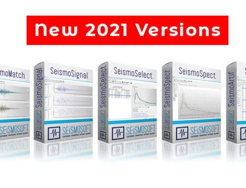 New 2021 versions of SeismoSelect, SeismoSignal, SeismoMatch, SeismoArtif and SeismoSpect